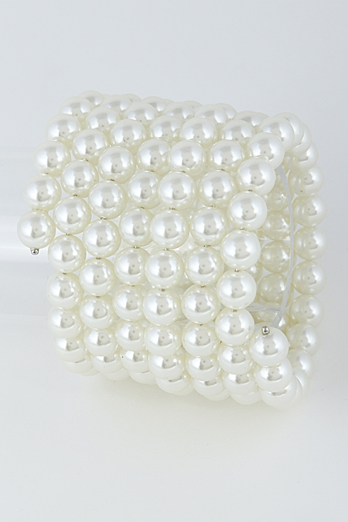 Faux Pearly Thick Bracelet - orangeshine.com