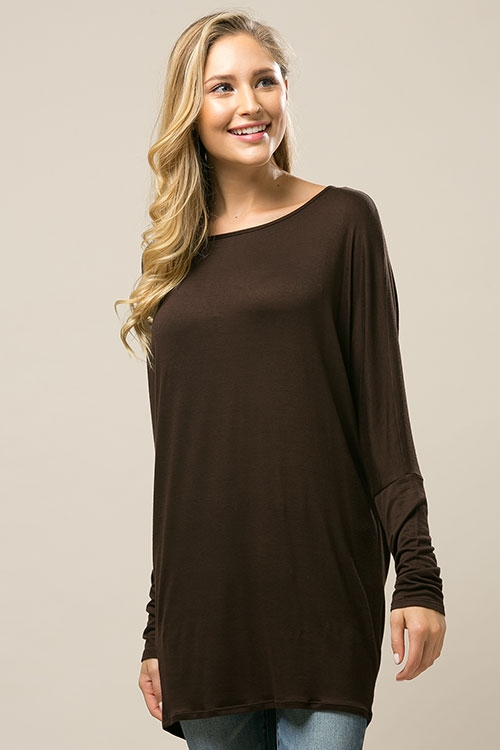 Long sleeve knit tunic top - orangeshine.com