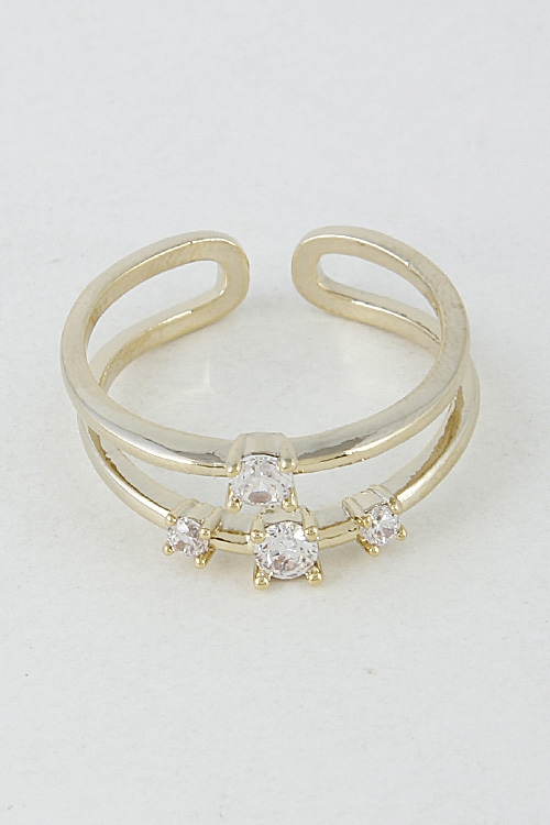 Open Ring with Rhinestones - orangeshine.com