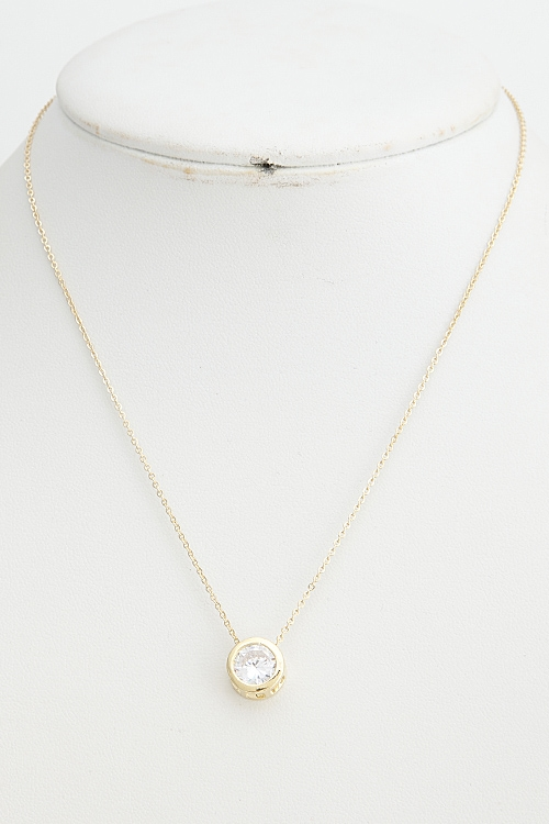 Round Rhinestone Necklace - orangeshine.com