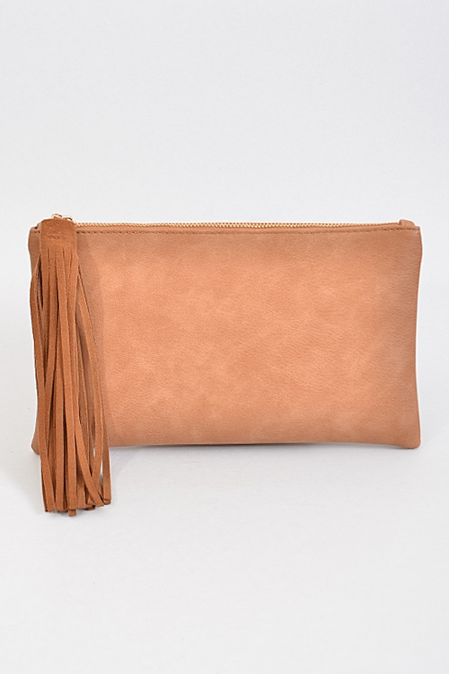 Top Zip Clutch with Tassel - orangeshine.com
