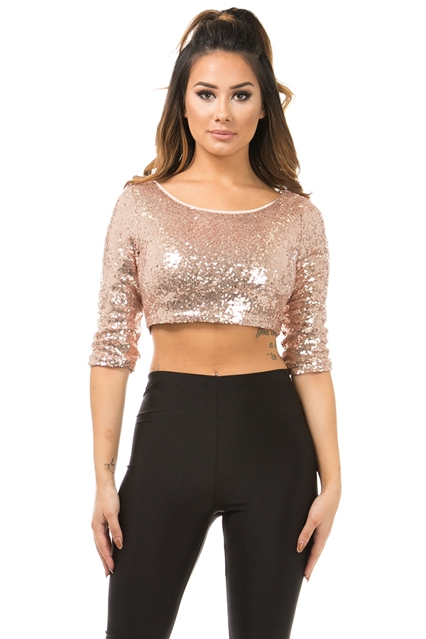 Sequins crop top - orangeshine.com