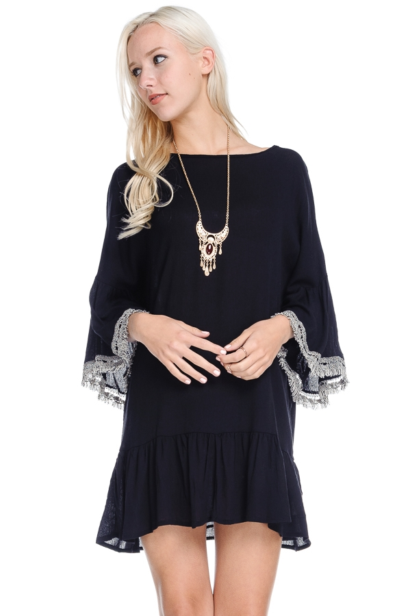 Bell Sleeve Fringe Dress - orangeshine.com