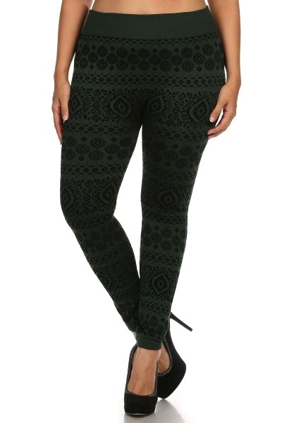 Plus Size Flock Fleece Legging - orangeshine.com