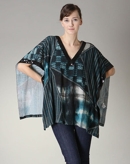 Printed poncho with sequined trim. - orangeshine.com
