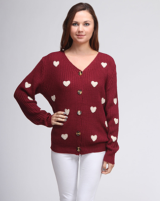 HEART BUTTON SWEATER - orangeshine.com