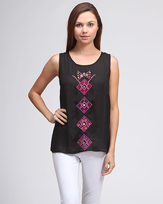 ETHNIC JEWEL EMBROIDERY SLEEVELESS TOP - orangeshine.com