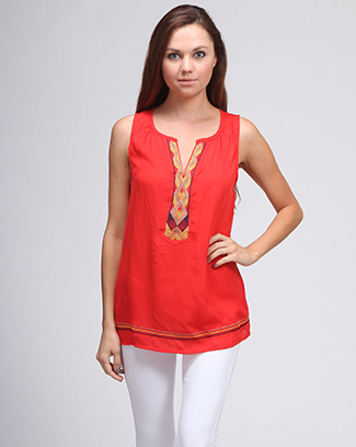 SOLID EMBROIDERY FRONT SLEEVELESS TOP - orangeshine.com