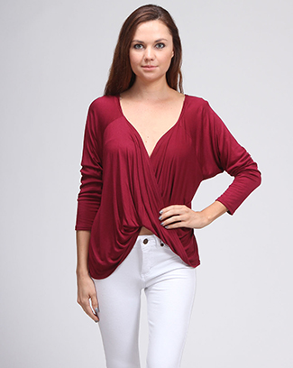 SOLID TWIST FRONT BLOUSE - orangeshine.com
