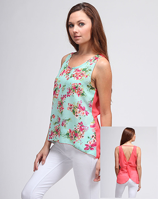 FLORAL PRINT SOLID BACK SLEEVELESS TOP - orangeshine.com