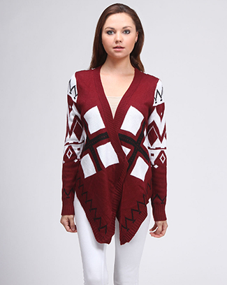 MULTI ZIGZAG KNITTED CARDIGAN - orangeshine.com