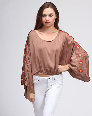 SOLID BLOUSE WITH EMBROIDERY SLEEVE - orangeshine.com