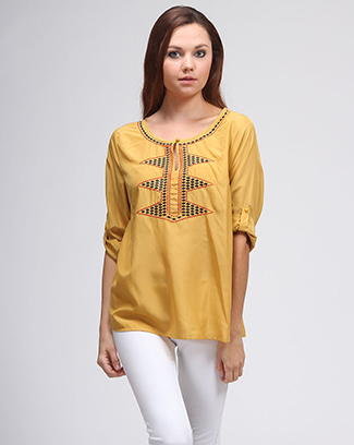 EMBROIDERED TOP WITH FOLDED SLEEVE - orangeshine.com