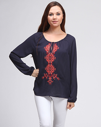 EMBROIDERED LONGSLEEVE TOP - orangeshine.com