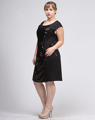SPANGLE FRONT EMBELLISHED DRESS - orangeshine.com