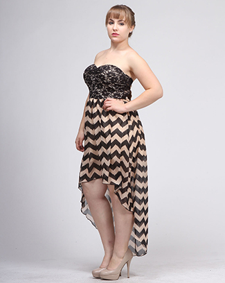 LACE CHEVRON HIGH LOW DRESS - orangeshine.com