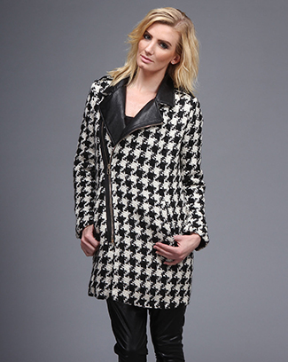 HOUNDS TOOTH COAT W/ LEATHER COLLAR - orangeshine.com