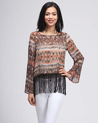 ABSTRACT PRINTED LONG SLV TOP W/ FRINGE - orangeshine.com