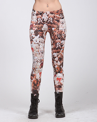 TEDDY BEAR PRINTED LEGGINGS - orangeshine.com