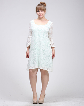 LACE BELL SLEEVE DRESS - orangeshine.com
