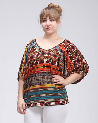 MULTI PRINT DOLMAN TOP - orangeshine.com
