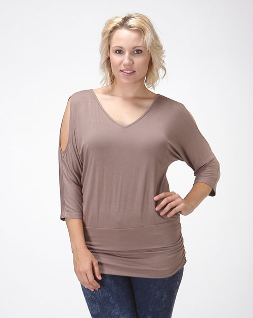 SHOULDER CUTOUT TUNIC - orangeshine.com