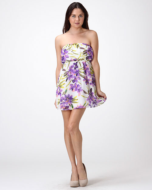 FLORAL CHIFFON TUBE MINI DRESS - orangeshine.com