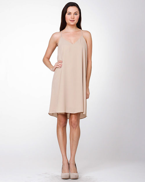 SOLID V-NECK SHORT DRESS DOUBL - orangeshine.com