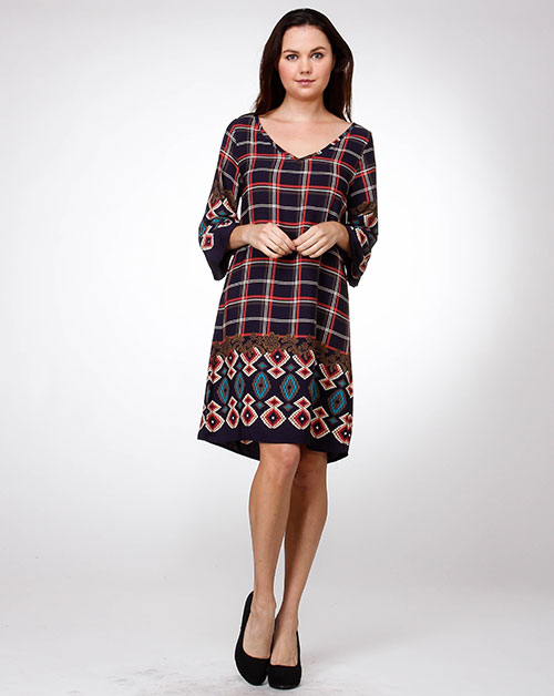 Plaid Print Shift Dress - orangeshine.com