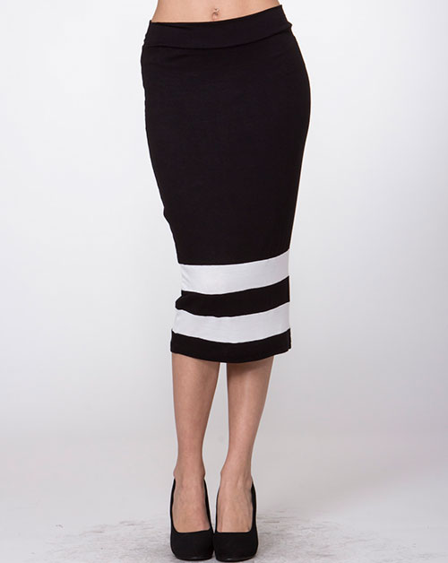 Color block Basic medi skirt - orangeshine.com
