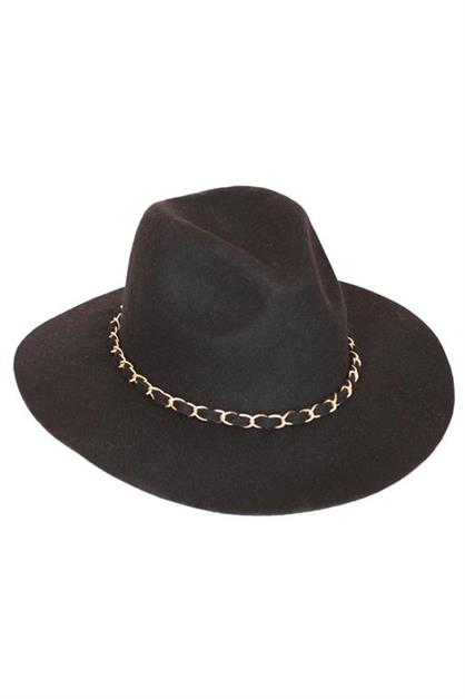 CHAIN RIBBON WOOL FELT HAT - orangeshine.com