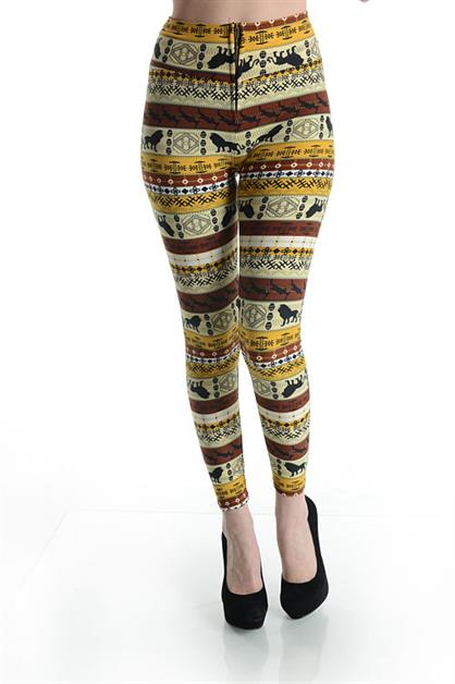 PRINTED ZIPPER LEGGINGS - orangeshine.com