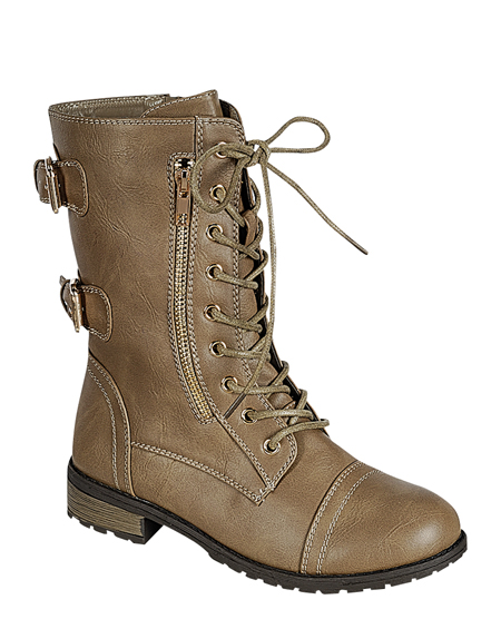 LACED BOOTS WITH ZIPPER AND BUCKLES - orangeshine.com