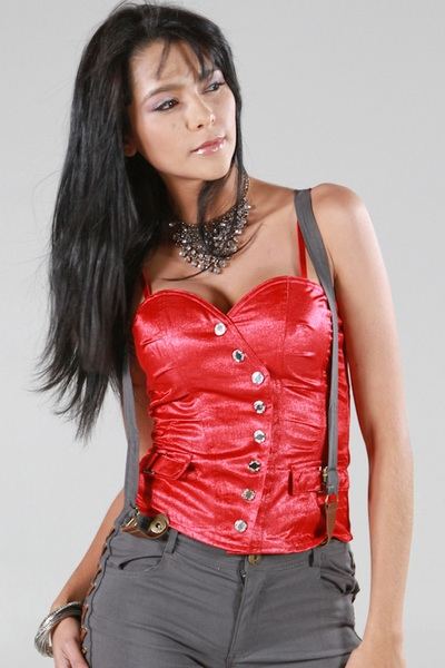 SILVER BUTTON DOWN CORSET - orangeshine.com