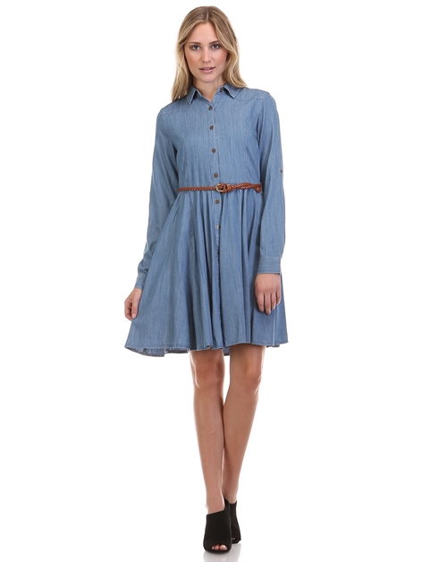 TENCIL BELTED DENIM DRESS - orangeshine.com