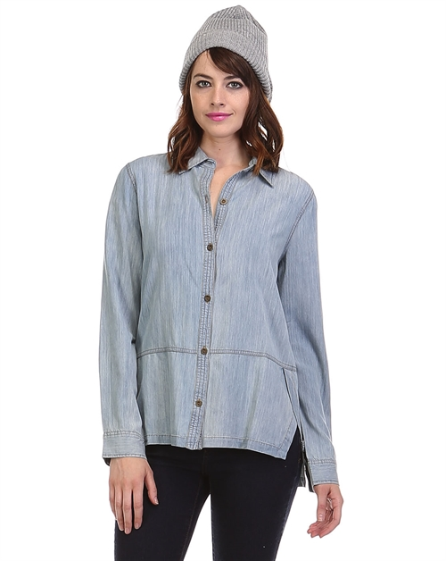 BUTTON DOWN DENIM TOP - orangeshine.com