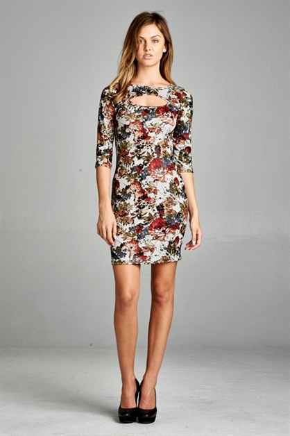 FOIL ACCENT FLORAL MINIDRESS - orangeshine.com