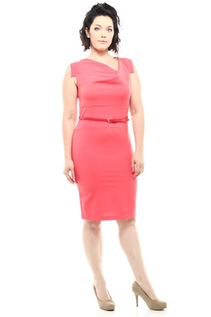 UNBALANCED COWL NECK DRESS - orangeshine.com
