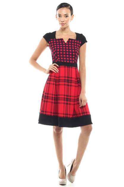 MIX MATCH PLAID DRESS - orangeshine.com