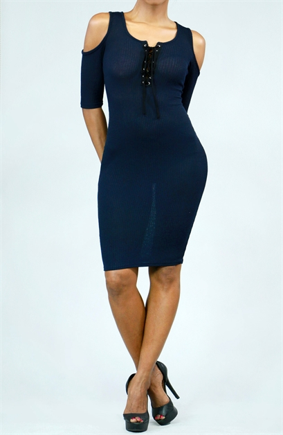 Cut-Out Shoulder Knit Bodycon - orangeshine.com