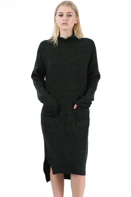 SWEATER KNIT TURTLE NECK DRESS - orangeshine.com