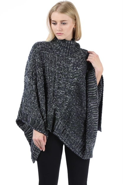 SWEATER KNIT TURTLENECK PONCHO - orangeshine.com