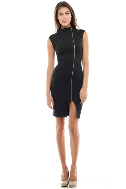 Nylon Ponte Zip Dress - orangeshine.com
