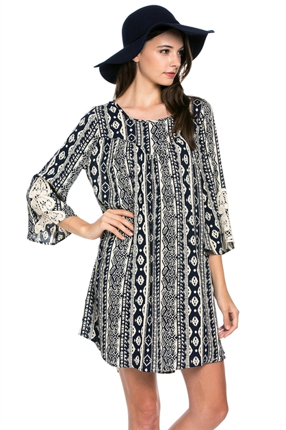 Tribal Print LaceTrimmed Dress - orangeshine.com