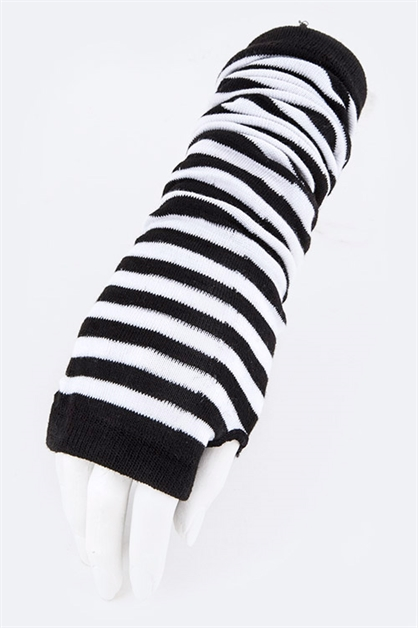 Stripe Knit Long Arm Warmer - orangeshine.com