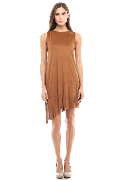 Suede Dress with Fringe - orangeshine.com