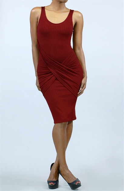 Midi Bodycon with Twist Front - orangeshine.com