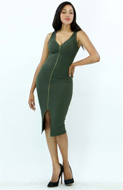 Rib Knit Midi with Zipper - orangeshine.com