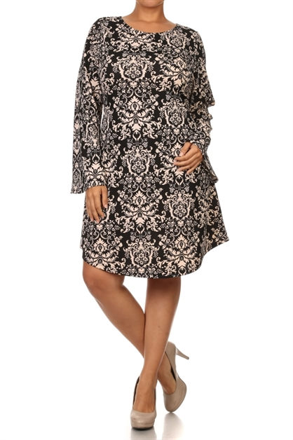 Damask print bell sleeve dress - orangeshine.com