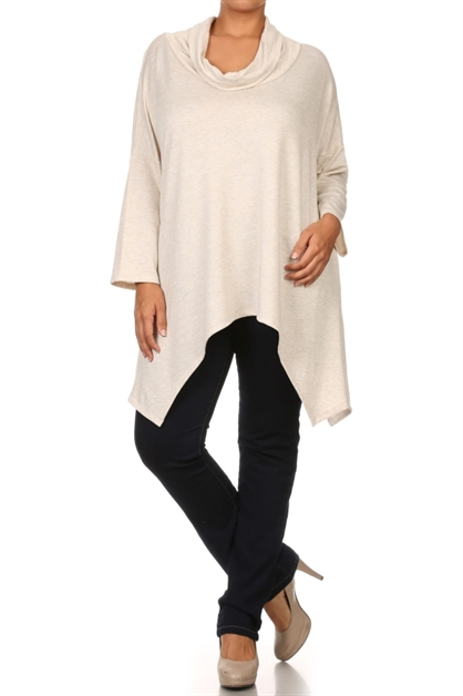 Cowl neck asymmetrical tunic - orangeshine.com